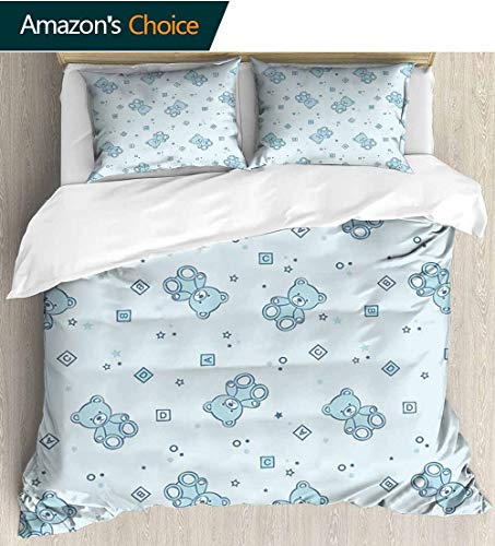 Nursery 3 PCS King Size Comforter Set,Teddy Bears and Toys with Letters on Children Imagery Baby Blue Background Decorative 3 Piece Bedding Set with 2 Pillow Sham 79