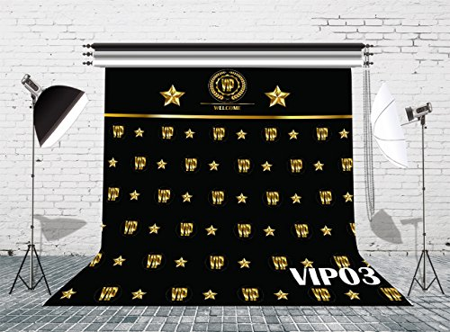 (LB VIP Backdrop for Photography 8x8ft Vinyl Royal Crown Black Hollywood VIP Photo Backdrops for Baby Shower Graduation Party Photo Studio Backgrounds Props)