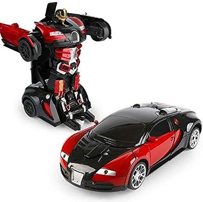 لعبة سيارة بوغاتي رجل آلي للأولاد مع جهاز تحكم عن بعد تتحول إلى