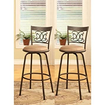 Bronze Finish Scroll Back Adjustable Metal Swivel Counter Height Bar Stools  (Set Of 2)