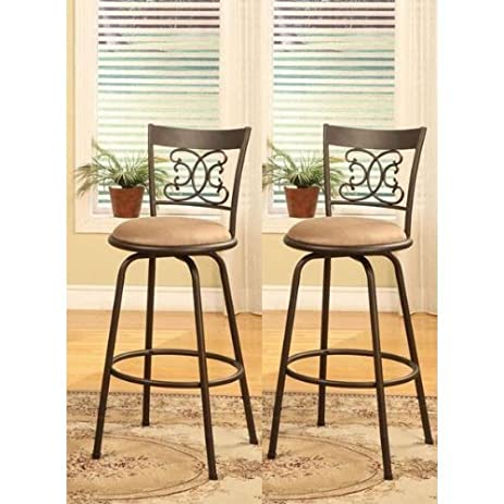 Bronze Finish Scroll Back Adjustable Metal Swivel Counter Height Bar Stools (Set of 2)  sc 1 st  Amazon.com & Amazon.com: Bronze Finish Scroll Back Adjustable Metal Swivel ... islam-shia.org