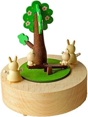 AntCompany Conejo caja de animales caja de madera caja de música caja de madera Regalo creativo