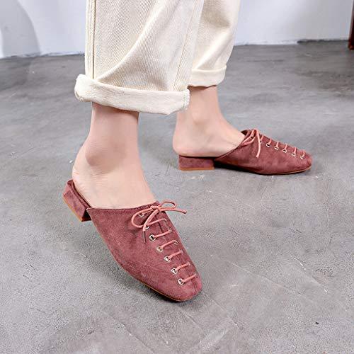 De Sauvage Été Plat À Pink Lace Chaussures Mode Style Sandales Femme yesmile Plates Ville Dames Carré up Tête Pantoufles tSwxOqHC