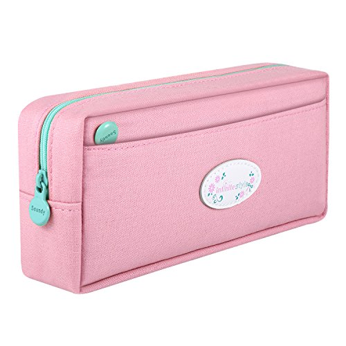 - SAMAZ Large Capacity Canvas Pen Pencil Case Stationery Pouch Bag Case Cosmetic Bags (Pink)