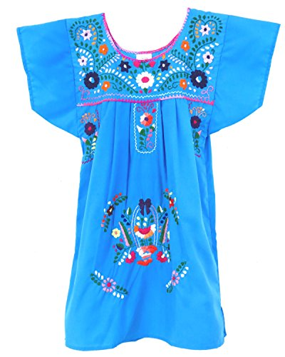 Child Embroidered Dress - Ethnic Identity Embroidered Mexican Youth Girl Dress (Ages 12, Aqua)