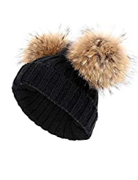 Kids Winter Pompom Hat Toddler Raccoon Fur Double Ball Knitted Beanies Ski Caps