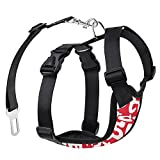 Pawaboo Dog Safety Vest Harness, Pet Dog Adjustable Car Safety Mesh Harness Travel Strap Vest with Car Seat Belt Lead Clip, Small Size, RED & WHITE