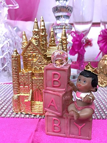 Golden Celebration Favor Cake - Ethnic Baby Girl Baby Shower or Birthday Princess with Blocks Gold Castle Decoration