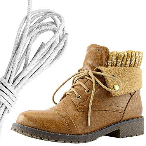 Daily Shoe Mujeres Combat Style Lace Up Sweater Top Tobillera Con Bolsillo Para Tarjeta De Crédito Knife Money Wallet Pocket Botas, White Tan Pu