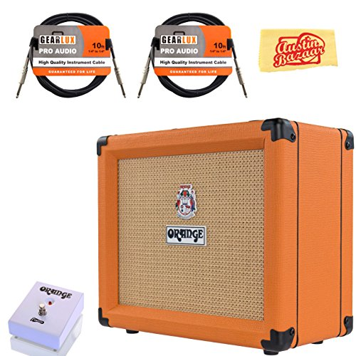 Orange Crush 20 Guitar Combo Amplifier Bundle with Orange FS-1 Footswitch, Instrument Cables, and Austin Bazaar Polishing Cloth by Orange
