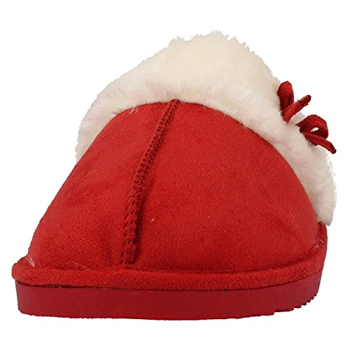 Damas Jyoti Pantuflas Con Piel puño y lazo 3 4 5 6 7 8GB Rojo