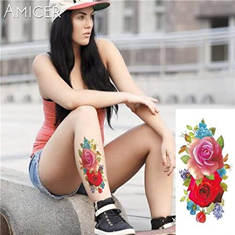 Yyoutop India árabe e Tatuajes Etiqueta Rosa roja Floral Tatuaje ...