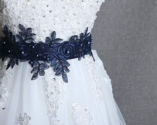 Navy sash belt, Bridal blue sash, Wedding dress sash, Swarovski pearl belt, Wedding navy rhinestone sash, Prom dress belt, Flower girl ()