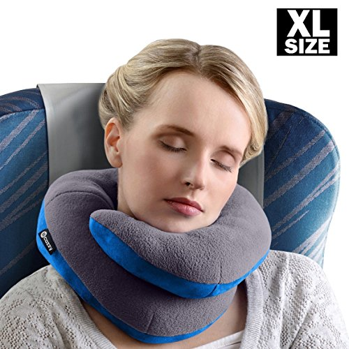 BCOZZY Extra Large Chin Supporting Travel Pillow - Supports the Head, Neck and Chin in Maximum Comfort in Any Sitting Position. A Patented Product. XL Adult Size, GRAY (Position Memory Foam 3 Pillow)