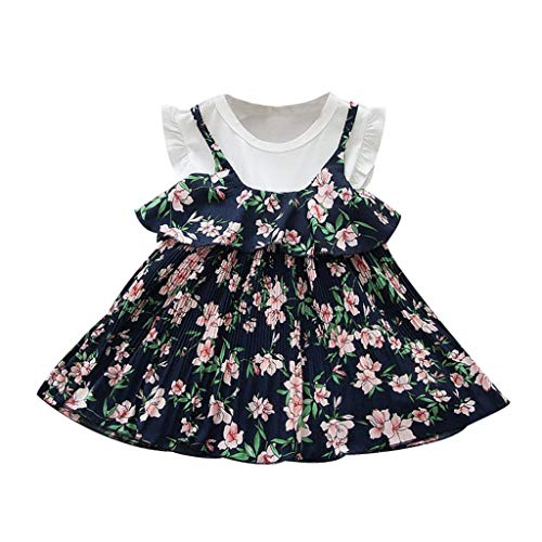 Baby Girls Summer Dress,Toddler Kids Casual Floral Flowers Ruffles Party Princess Dress Outdoor Beach Sundress Navy