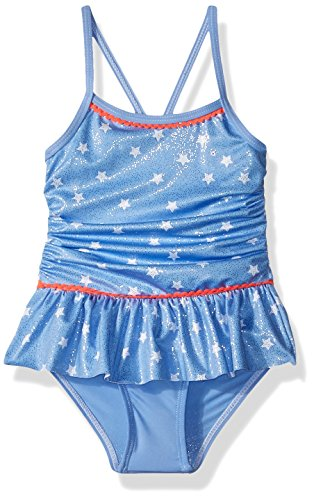 Pink Platinum Toddler Girls' Star Foil 1-Piece Swimsuit, Blue, 4T (Piece 1 Toddler Girls Swimsuit)