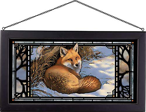 (Darby Creek Trading Winter Fox Basking in Afternoon Sun Stained Glass Hanging Art Panel)