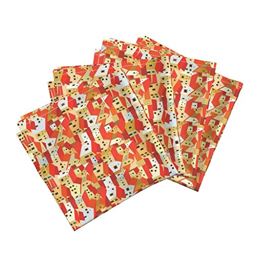 Roostery Spain Linen Cotton Dinner Napkins Andalusian Houses by Dariara Set of 4 Cotton Dinner Napkins made by by Roostery