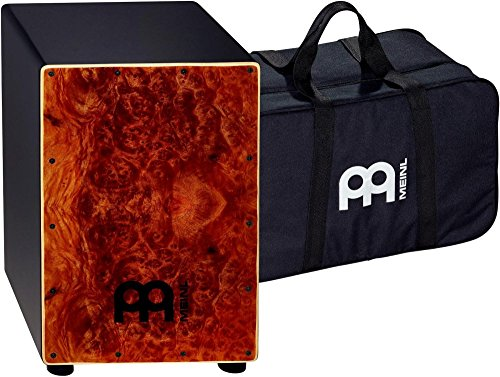 meinl-percussion-mcaj100bk-cc-cafe-cajon-in-camphor-burl-finish-with-internal-snares-and-free-gig-ba