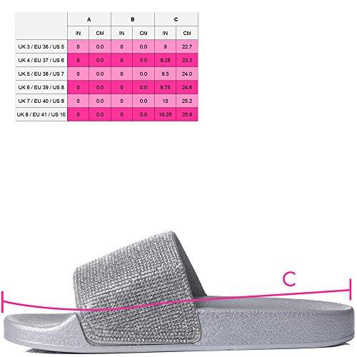 Spylovebuy Diamante Silbernes Sandalen Leder Strap ME Sparkle Damen Claim Sliders r8qUwtr