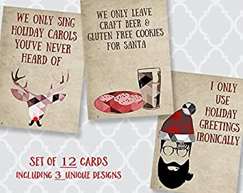 Hipster Christmas Cards Holiday Gluten Free Beer Santa Ironic Ukulele