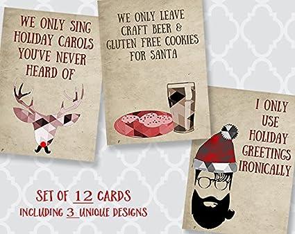 Amazon hipster christmas cards holiday gluten free beer hipster christmas cards holiday gluten free beer santa ironic ukulele m4hsunfo