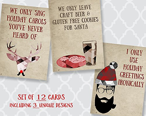 Hipster Christmas Cards, Holiday, Gluten Free, Beer, Santa, Ironic, Ukulele Reindeer, Funny Greeting Cards with Envelopes, Set of 12 Assorted cards,, Assortment Pack