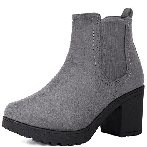 Spylovebuy Yael Damen Blockabsatz Stiefeletten Schuhe Grau - Synthetik Wildleder