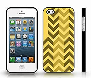 Case For Iphone 5/5S Cover with Chevron Pattern Brown/ Tan Stripe , Snap-on Cover, Hard Carrying Case (Black)