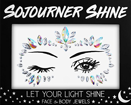 Face Jewels Glitter Gems Rhinestones – Eye Body Jewels Gems | Rhinestone Stickers | Body Glitter Festival Rave & Party Accessories by SoJourner (Glitter Crown)