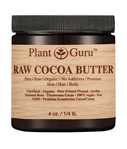 Raw Cocoa Butter 4 oz. 100% Pure Fresh Natural Cold Pressed. Skin Body and Hair Moisturizer, DIY Creams, Lip Balm, Lotion and Soap ()