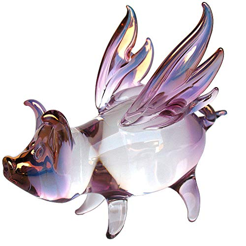 Blown Glass Pig (Prochaska Gallery Hand Blown Glass Flying Pig Figurine with Wings)