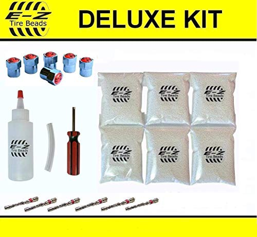 E-Z Tire Balance Beads Deluxe Kit Dually Truck 5 oz Six-Pack (6 Bags of 5 oz Balancing Beads) 30 Ounces Total, Applicator Kit, Filtered Valve Cores, Chrome Caps