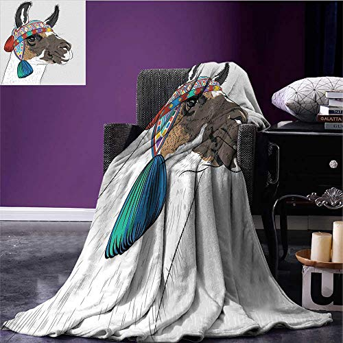- Llama Printing Blanket Alpaca with an Ethnic Colorful Hat Peruvian Sketch Style Animal Abstract Pattern Fleece Blanket Throw Multicolor Bed or Couch 50