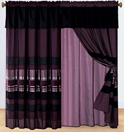 Curtain Set Chenille (4 Piece Eggplant Purple / Black silver stripe Chenille Curtain set with attached Valance and Sheers)