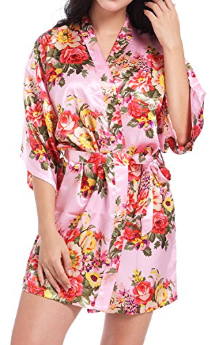 DF-deals Women's Satin Floral Robes for Bride and Bridesmaid Wedding Party Kimono Silk Robes Nursing Gown Short,Pink,Large/US 8-10