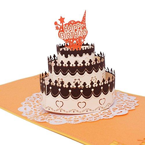 3D Pop Up Happy Birthday Card - Birthday Cake (French Style) - Greeting Cards, Birthday Invitation (Occasion Birthday Chocolates)