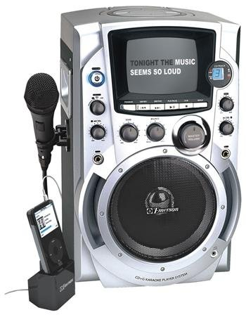 Emerson GQ755 CDG Karaoke System iPod Compatible w/ 100 (Top Load Cdg Karaoke Machine)