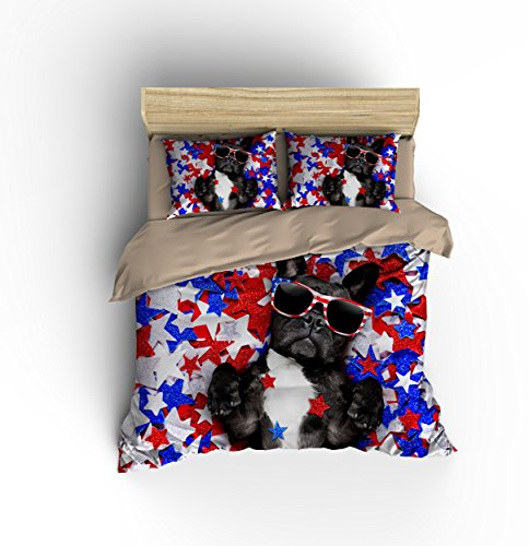 Gorgeous Patriotic Glasses Star Puppy Cotton Microfiber 3pc 80''x90'' Bedding Quilt Duvet Cover Sets 2 Pillow Cases Full Size by DIY Duvetcover