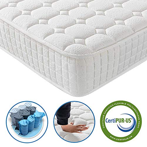 Vesgantti 9.4 Inch Multilayer Hybrid Queen Mattress - Multiple Sizes & Styles Available, Ergonomic Design with Breathable Foam and Pocket Spring/Medium Plush Feel