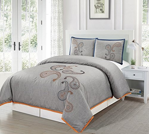 Chezmoi Collection Naomi Luxury 3-Piece Paisley Floral Embroidery Patterns Duvet Cover Set (Queen)
