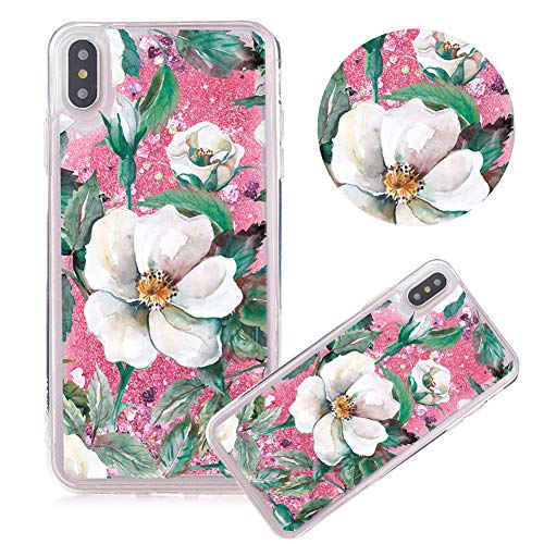 iPhone XS Max Case,Glitter Painted Quicksand Case for iPhone XS Max,Moiky Flower Series Color Printing Liquid Sparkly Quicksand Soft Clear TPU Crystal Transparent Protective Cover,Gardenia#Pink