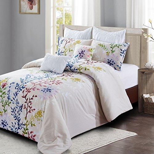 Dahlia Lane 7pc Comforter Set - Multi-Color Floral Stems with White Leafy Silhouettes - Machine Washable - Includes 1 Comforter + 2 Shams + 2 Euro Shams + 2 Decorative Pillows - Queen (Queen)
