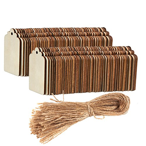 Unfinished Wood Tag - 100-Pack Wooden Gift Tags with Jute Ropes, Natural Rustic Wood Craft Labels for Home DIY Supplies, Wedding Decoration, 2.7 x 1.5 inches -