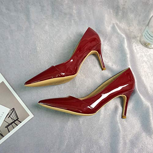 Autumn Wild Shoes Single High Women'S Professional Black Patent Nude Milk Shoes Color Heels Red Coffee Leather Pointed Stiletto 40 Yukun Wine heels Work Color High YqpFnp