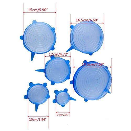 Kitchen Silicone Cover Home Stretch Lids, Set of 6, Various Sizes Durable Expandable Food Saver Cover for Bowel, Can, Cup, Heat Resistant Stretch Wrap, Microwave Safe Stretch Lids Covers (Blue)