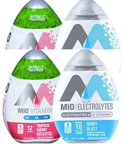 Mio Vitamins Tropical Cherry & Mio Electrolytes Berry Blast B Vitamins Liquid Water Enhancer 1.62 Fl Oz (4) - Berry Blast Drink