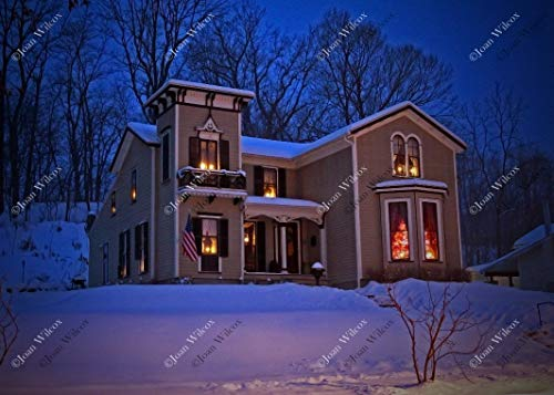 Scenic 1857 Italianate Victorian Winter Home, Architecture, Home for the Holidays Original Fine Art Photography Wall Art Photo Print