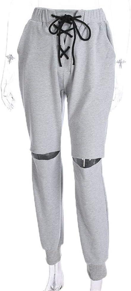 Pantalones deportivos para mujer, Mujeres recortadas Color sólido ...