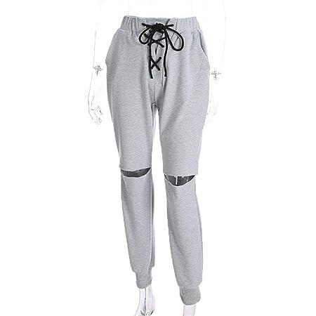 Pantalones casuales para mujer Mujeres recortadas Color sólido ...
